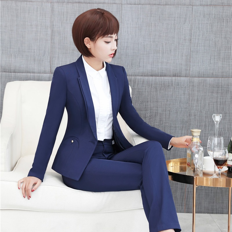 New Arrival Autumn Winter Formal Uniforms Pantsuits With Jackets And Pants Ladies Professional Blazers Trousers Set Plus Size