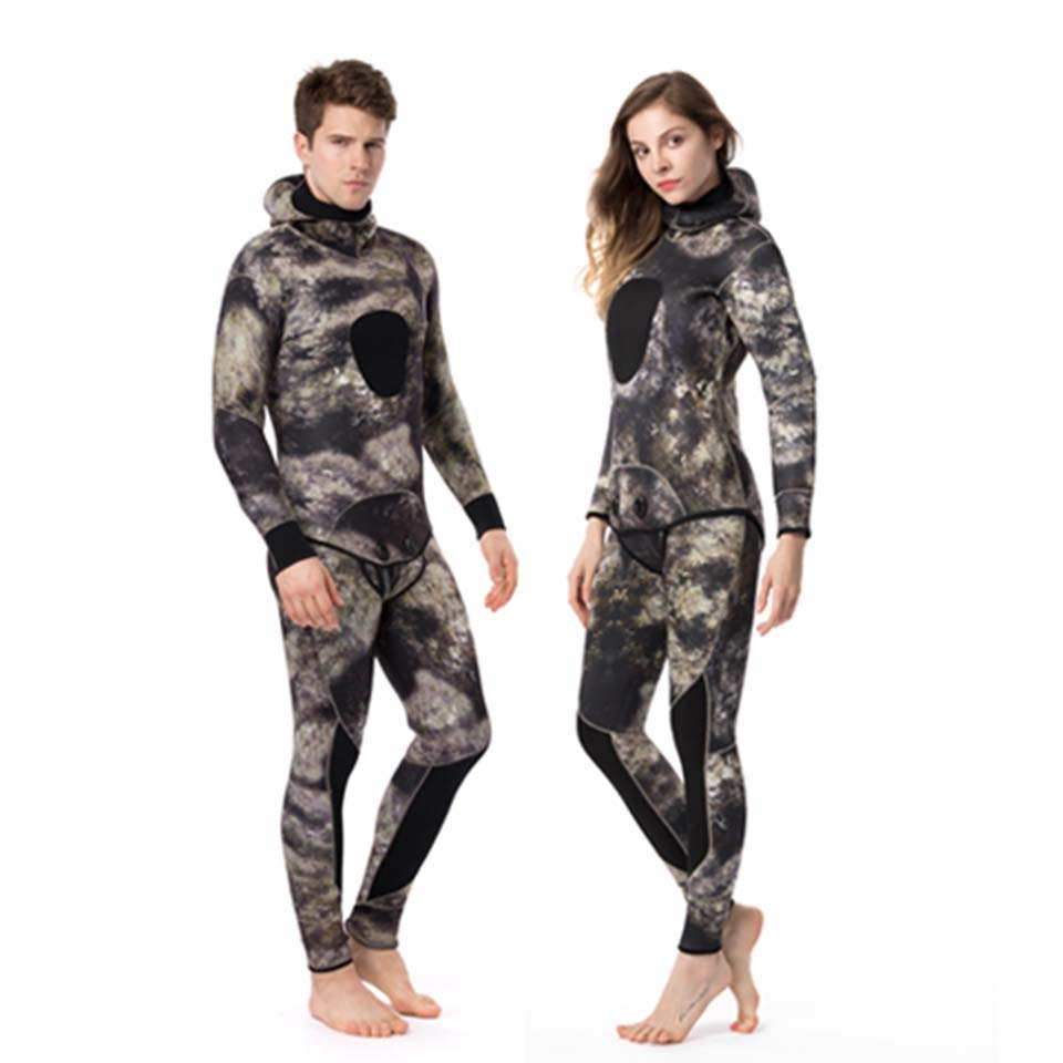 Neoprene Man Wetsuit 5mm Full Body Camouflage Spearfishing Wetsuits 2 pieces triathlon Thicker Diving Suit roupa