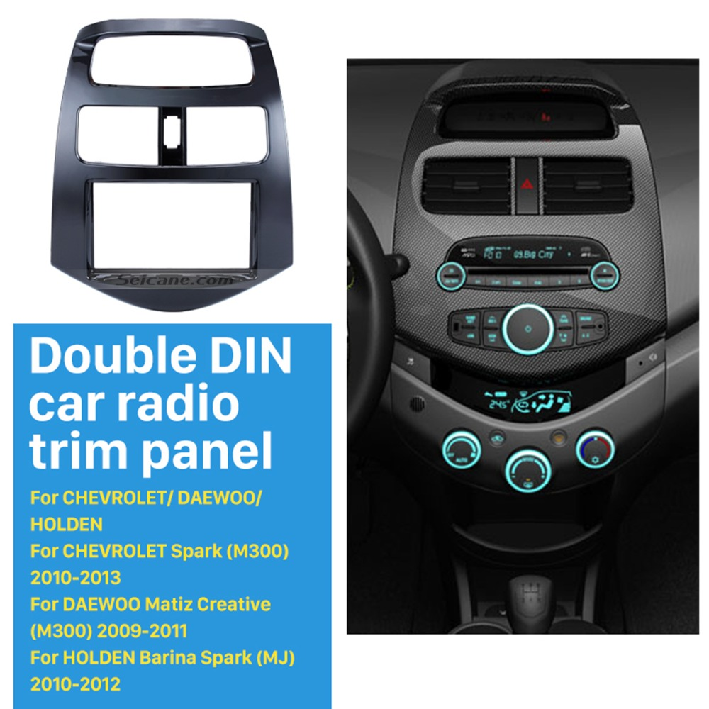 Seicane 2 DIN Car Radio Frame Fascia for Daewoo Martiz Chevrolet Spark M300  Beat Dash DVD Stereo Dash Install Trim Panel Kit cda2aeb38fe8e