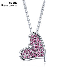 DreamCarnival 1989 First Love Heart Pendant White & Pink Crystals Fancy Design Office Lady Chain Necklace Collar Rosa 18N1013(China)