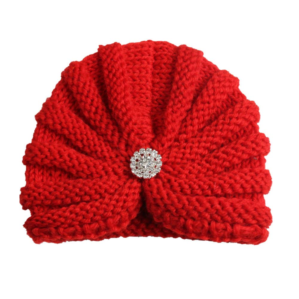 4383f34c1 2018 New Fashion Donut Baby Hat Newborn Elastic Knitted Wool with Diamond  Baby Beanie Cap Multicolor Baby Turban Hat