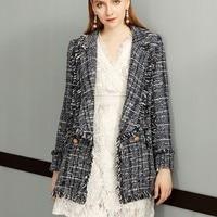 Уличная дизайнерская твидовая куртка женская осень зима двубортная тонкая Женская Базовая куртка серая куртка с кисточками женские шерстя