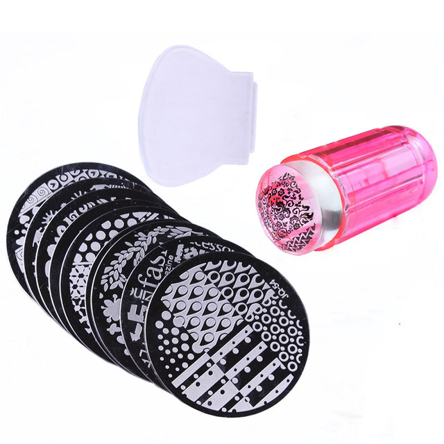 10Pcs Different Design Stamping Nail Art Plate With 1Pcs Jel Stamper ...