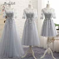 Modabelle Modest Lace Bridesmaid Dresses Sleeves Gray Champagne Pink Vestidos Dama De Casamento Party Dress Wedding