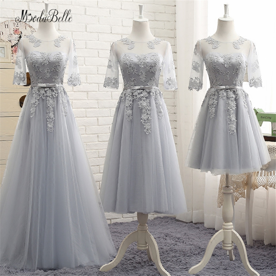 modabelle Modest Lace   Bridesmaid     Dresses   Sleeves Gray/Champagne/Pink Vestidos Dama De Casamento Party   Dress   Wedding Guest 2017