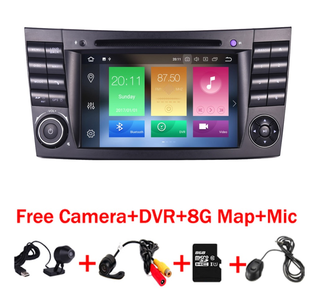 En Stock Quad Core 1024*600 Écran Tactile Lecteur DVD de Voiture pour mercedes w211 Android 8.0 W209 W219 3g WIFI Radio Stéréo GPS 4g DVR