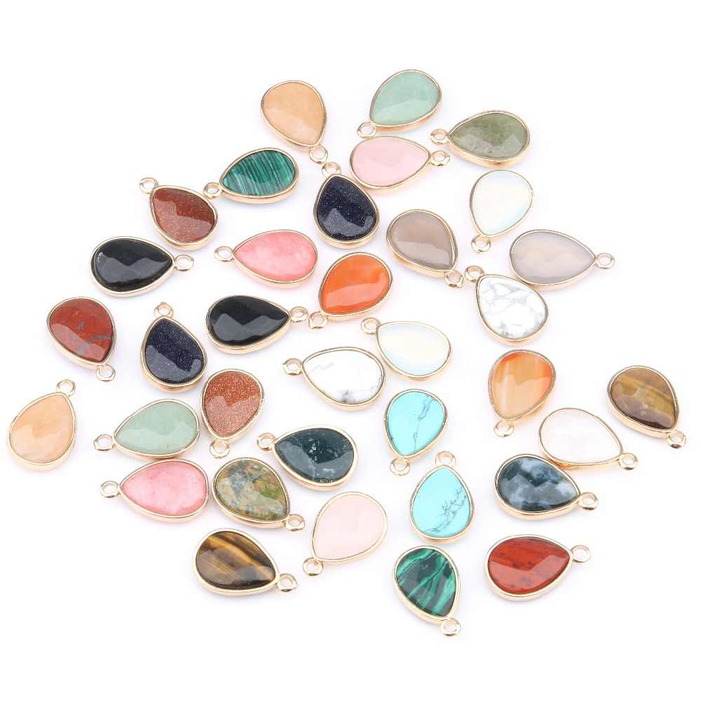 Wholesale Water Drop Shape Natural Stone RoseQuartz/Tiger Eyes Pendant  DIY for Necklace or Jewelry Making 16 Color