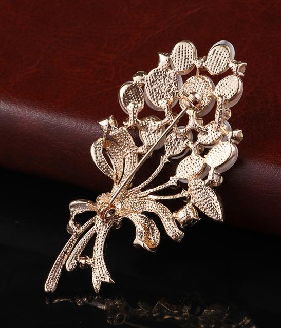 Opal Stone Flower Brooch Pin