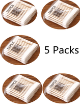 YOOAP Baby Hygienic Cleaning Cotton Bar 5 Packs of Natural High Quality Double-headed Wood