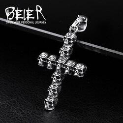 BEIER Vintage Cross Skull Pendant For Men 316 Stainless Steel Titanium Men's Neckace Pedants Unique jewelry Punk Style BP8-157