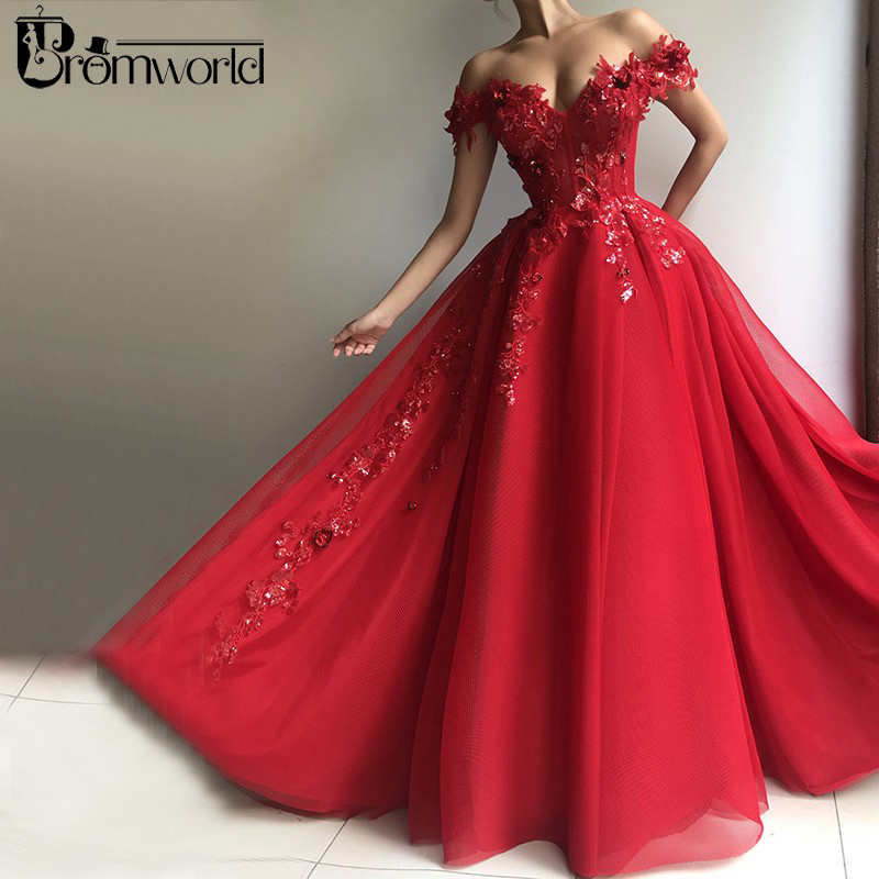 Red Muslim Evening Dresses 2020 V-Neck Sequin Lace Tulle Off The Shoulder Ball Gown Dubai Saudi Arabic Long Formal Evening Gowns