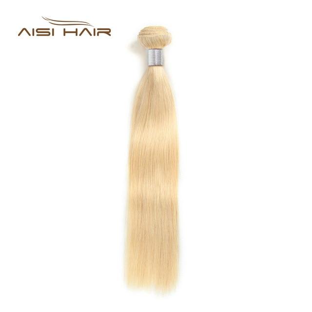 AISI שיער 613 בלונדינית אדם ישר שיער חבילות 1 PCS דבש בלונד חבילות פרואני ללא רמי שיער Weave 100% שיער טבעי מארג