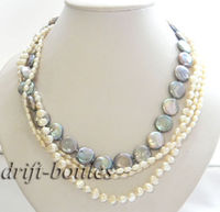 4strands 14mm gray coin white baroque freshwater pearl silver necklace
