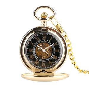 Image 4 - Gouden Spiegel Ontwerp Volledige Hunter Mechanische Hand Winding Zakhorloge Romeinse Cijfers Dial Luxe Retro Souvenir Klok Geschenken