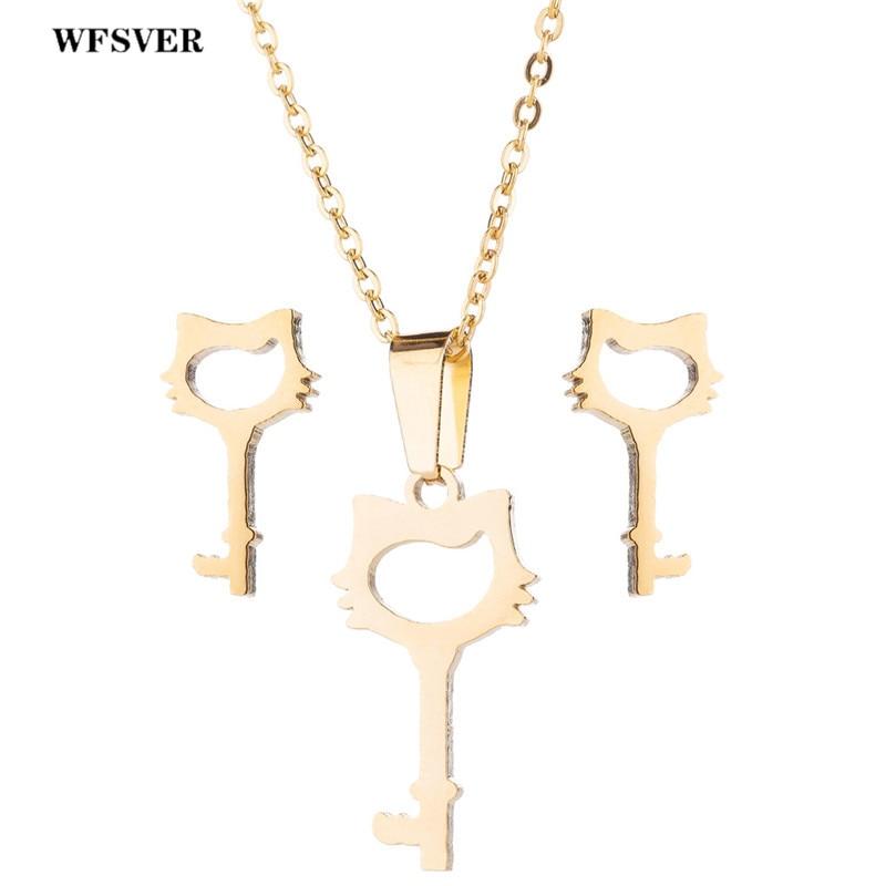 WFSVER Necklace Stud-Earrings Jewelry-Sets Key-Pendant Stainless-Steel Gold/silver Women