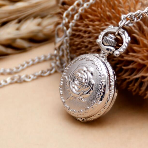 Small Bronze Vintage Style Palace Dimensional Relief Rose Quartz Necklace Chain Pocket Watch Gift KJH32