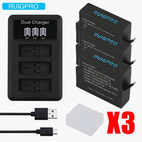 RuiPro 3pcs Batteries for GoPro Hero 5 Gopro 6/7 2018 Camera Battery AHDBT 501+ 3Slots LED USB Battery Charger with Type C Port