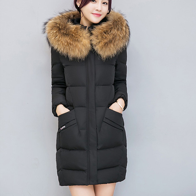 3e401b40b52 Women Warm Winter Windproof High Quality Thick Puffy Parkas Luxury  Designers Long White Duck Down Coat With Fur Hooded Outwear