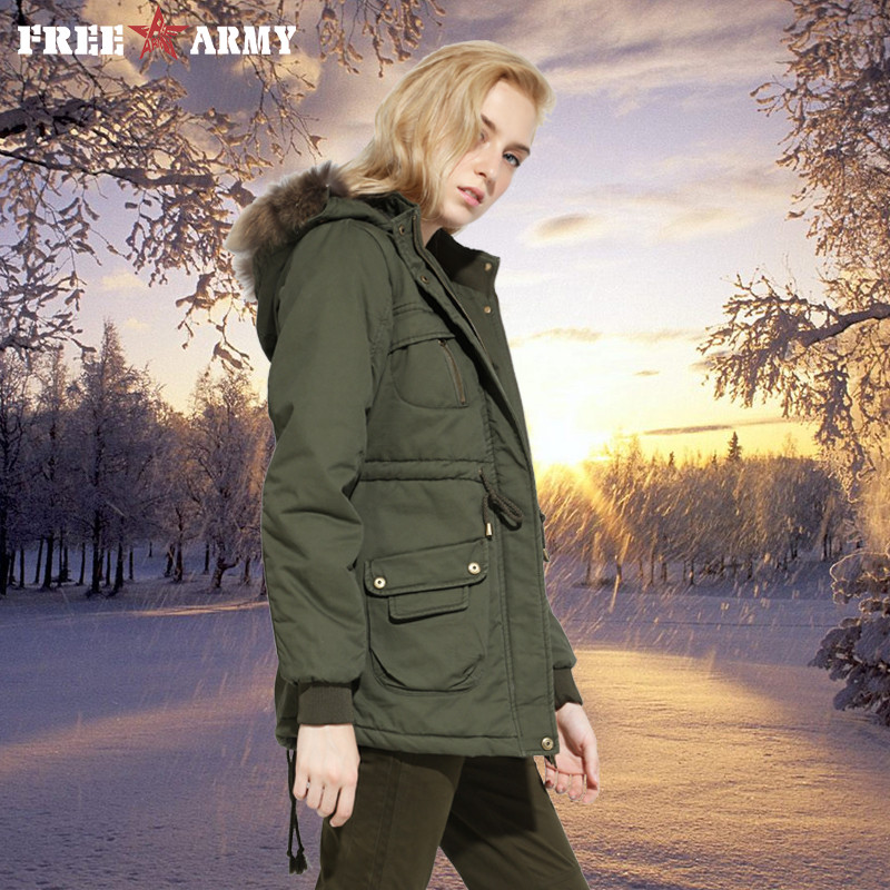 New 2018 Winter Cotton Jacket   Parka   Women Fur Collar Thick Loose Size Warm Coat Outwear   Parkas   Femme Army Green Jackets