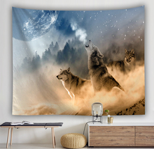 Wolf tapestry Wall Hanging home decor curtain spread covers cloth blanket art Beach Towel animal prints