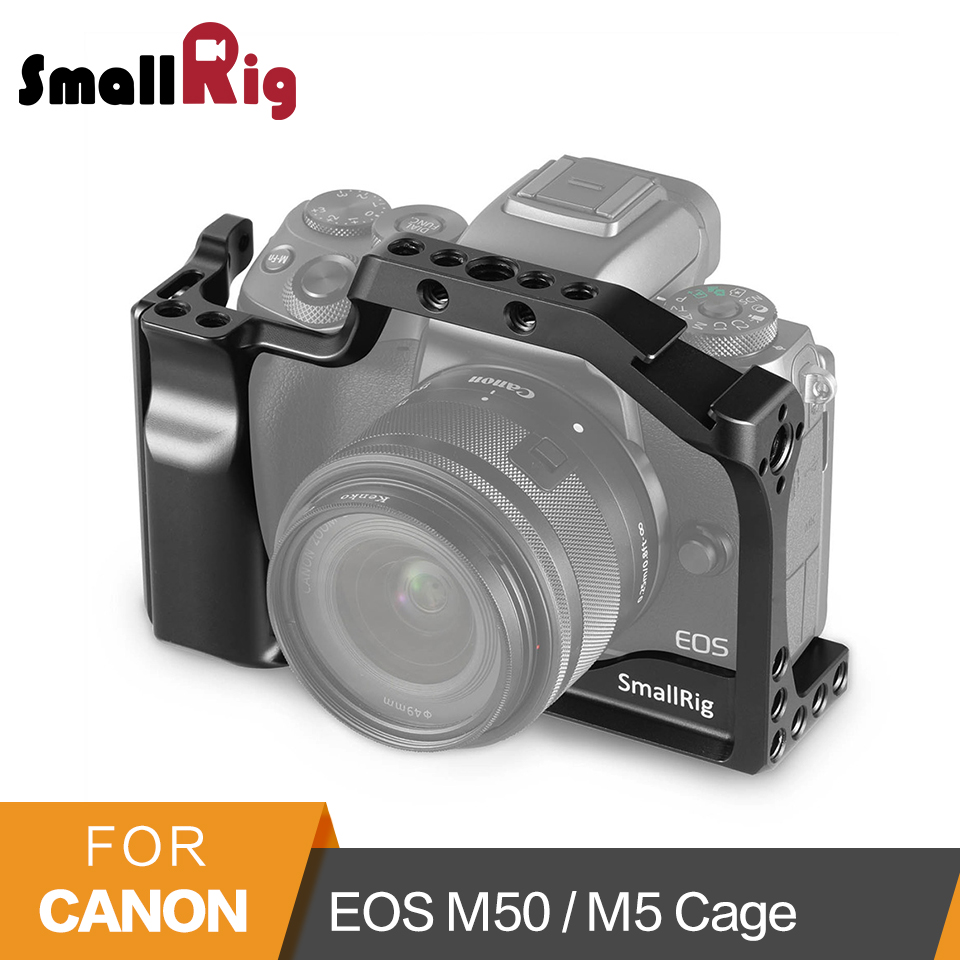 SmallRig DSLR Camera Cage for Canon EOS M50 / M5 Cage With Nato Rail Cold Shoe Mount For Quick Release Attachment 2168 smallrig mount for samsung t5 ssd card holder mount compatible with smallrig cage for bmpcc 4k 2203 2245