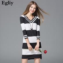Элегантный тонкий леди пикантные короткое платье; женские платья с v-образным вырезом в полоску Весна Черный и белый вязаные платья с рукавом три четверти