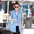 Женская джинсовая куртка 2016 новый стиль осенью и зимой длинное пальто синий джинсы бинты верхняя одежда плюс размер мода повседневная одежда