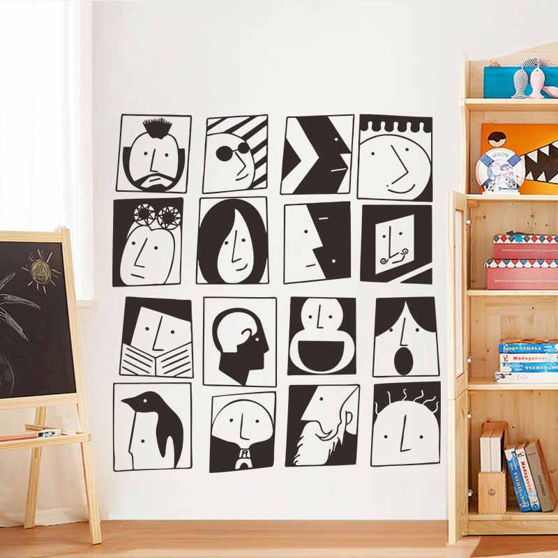 Наклейка на стену с рисунком лица, украшение фона, прочный для дома, гостиной, TB, распродажа