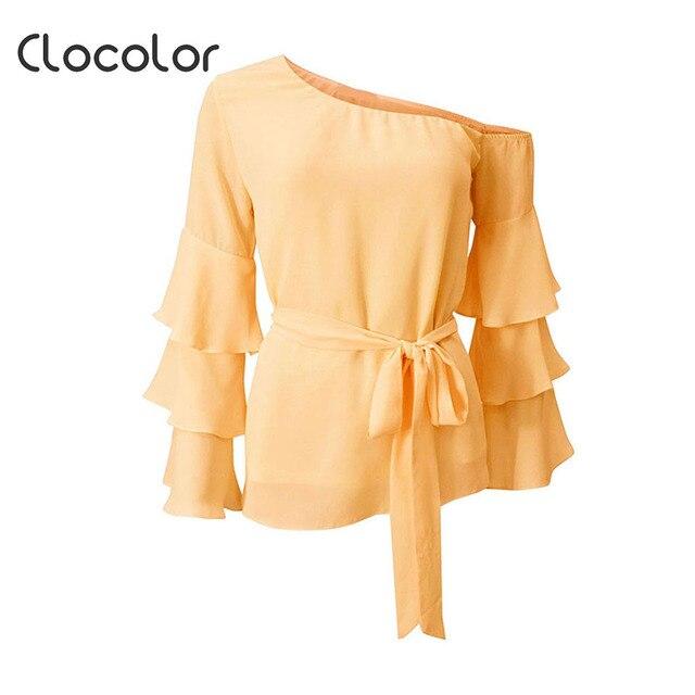 Clocolor Блузка с длинными рукавами Повседневное косой воротник с рюшами на шнуровке осенние Топы Модные Черный цвет; Большие размеры Для женщин блузка рубашка