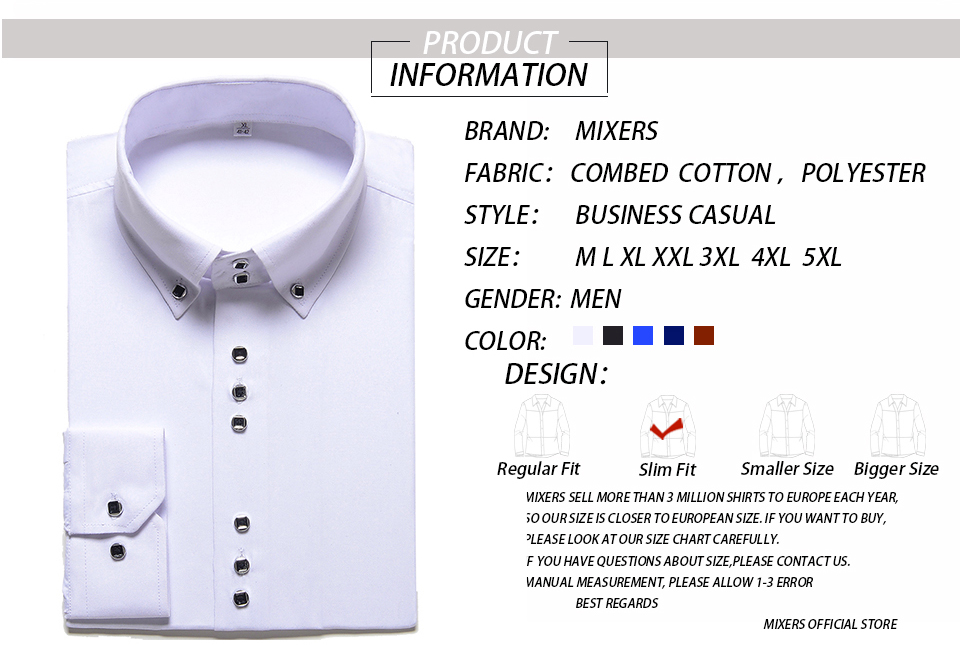 HTB1Lf4MaJfvK1RjSspfq6zzXFXad - New Fashion Casual Shirt Men Long Sleeve Slim Fit Men's Casual Button-Down Shirt Formal Dress Shirts Men Clothes Camisa