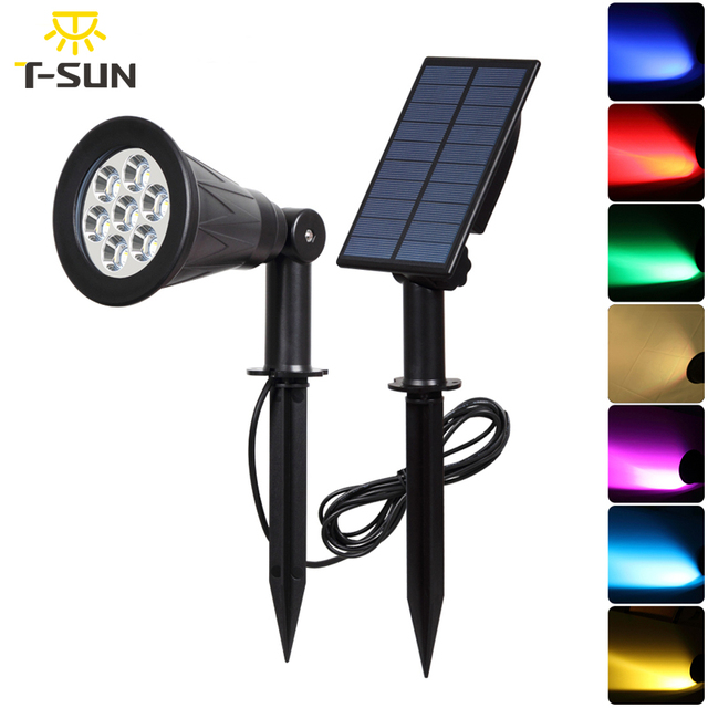T SUNRISE 7 LED Solar Spotlight With Solar Panel Auto Color Changing Outdoor Lighting Solar Powered Lamp Wall Light