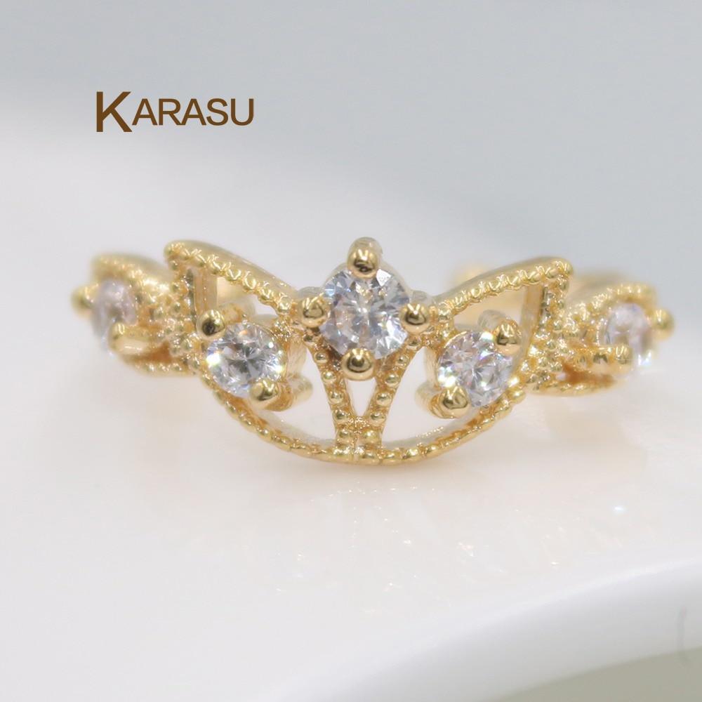 Karasu Cute Goldcolor Cubic Zirconia Flower Ear Cuff Jewelry Clip On  Earring For Women