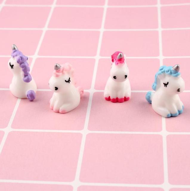 4 Pcs/set Cartoon Mini Resin Unicorn Miniature Cute Fairy Micro Landscape Unicorn Decor Figurine Home Garden Decors 3