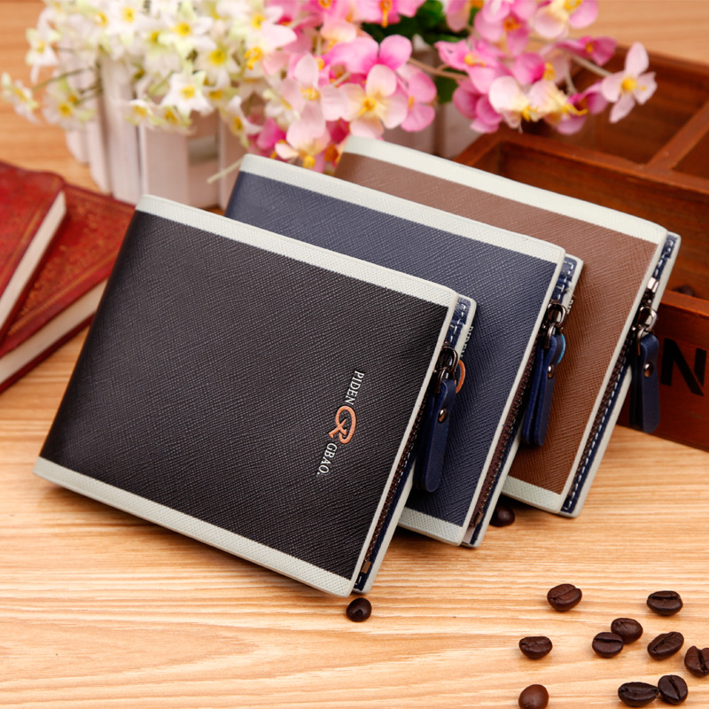 Male Leather Wallets Short Hasp Zip Designer Brand Wallet Purse Man Walet Coin Purse Card Holder for Men Free Shipping