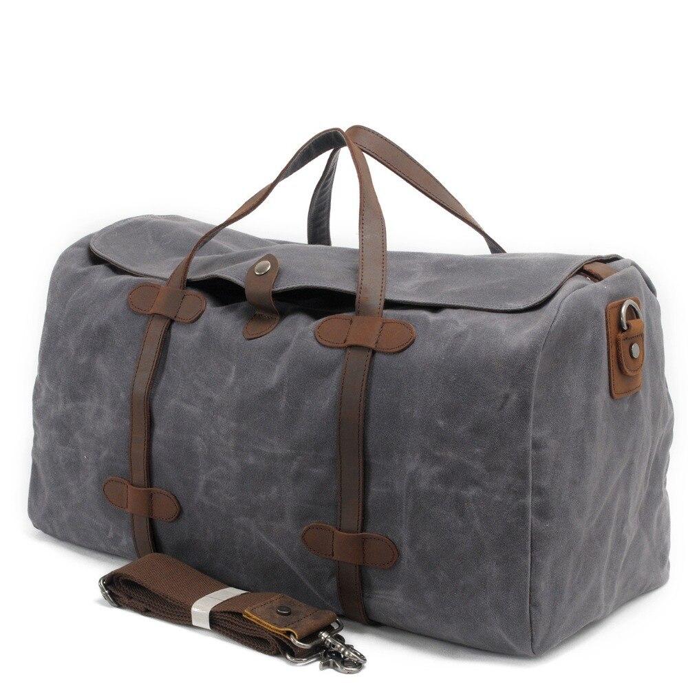 ФОТО Vintage Waterproof Men Women Canvas Traveling Bag Large-Capacity Casual Travel Duffel Tote Weekender Bag