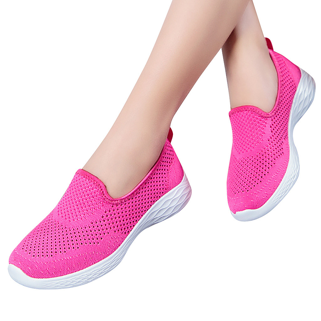 sock shoes for women Leisure Breathable Mesh Outdoor Fitness Running Sport Sneakers Slip On Flat Plus Size Loafers Walking Flat(China)