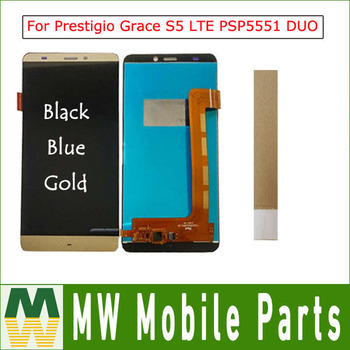 "1 Pza/lote 5,5 ""para Prestigio Grace S5 LTE PSP5551 DUO PSP 5551 DUO LCD pantalla + MONTAJE DE digitalizador con pantalla táctil con T 5 Color"