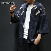 2019 men loose cardigan japanese kimono stripe coat high street hip hop casual outerwear embroidery crane printing kimono