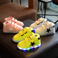 13-18 cm bebé niño niños pequeños luminosa zapatillas niñas niños sneakers flashing glowing led kids light up shoes de piel casuales