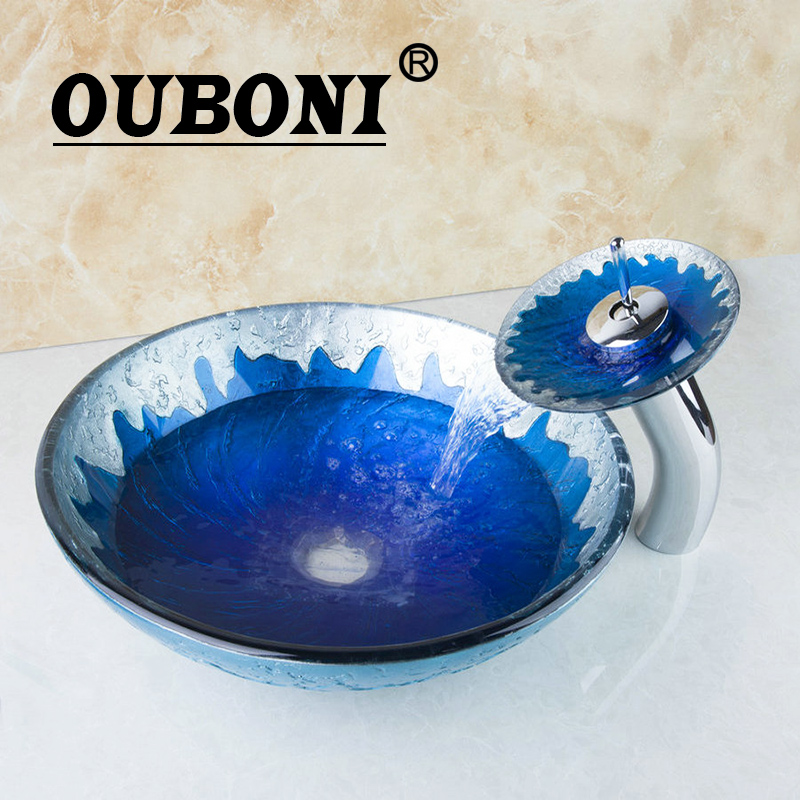 OUBONI Blue Painting Color Round Bathroom Art Washbasin Clear Tempered Glass Vessel Sink With Waterfall Chrome Faucet Set countertop sink painting round bathroom faucet art washbasin tempered glass vessel sink with brass faucet sets