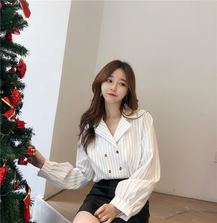 Shirts Women Simple Retro Striped All-match Double-breasted Korean Style Students Notched Womens Elegant Blouses Loose Chic 2019 27