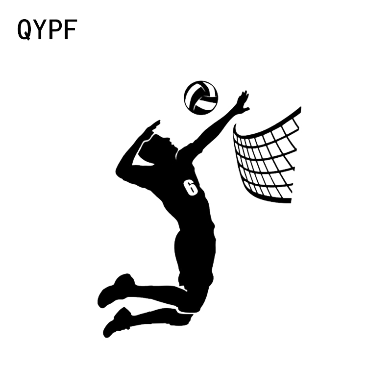 QYPF 12*15.1CM Fashion Volleyball Players Decor Car Stickers Vinyl Accessories Black/Silver C16-1364