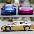 1:32 Brand New Scale Pull Back electroplate car Toys 911Turismo Diecast Metal Flashing Musical Car Model Toy For Gift