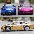 Marca 1:32 Nueva Escala Diecast Metal Flashing Tire Volver Juguetes del coche electrochapa 911 Turismo Musical Juguete Modelo de Coche De Regalo