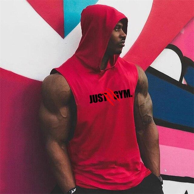 Muscle Guys Brand Mens Gyms Tank Top Hoodies Fitness men Sleeveless Shirt Hooded Sweatshirts Singlets Men Stringer Vest man 8