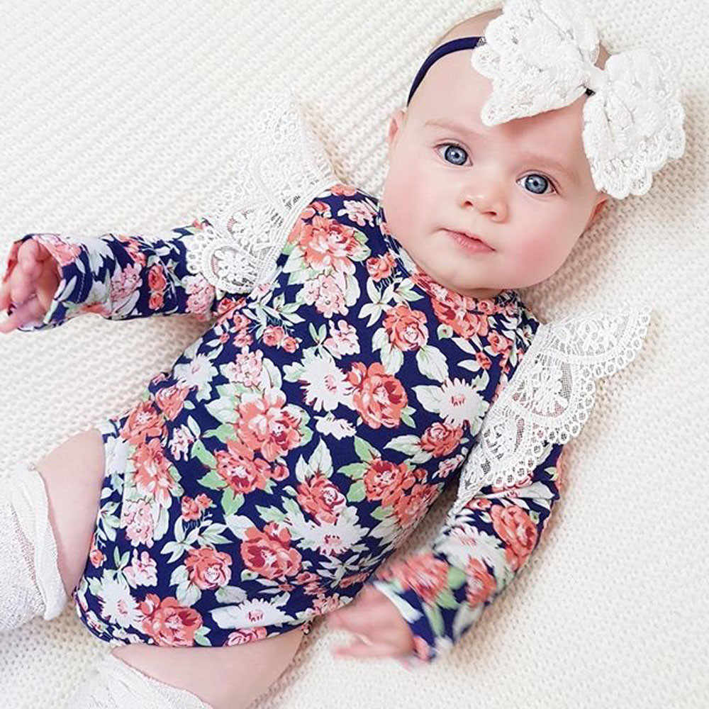 b609a5a3485c New Born Baby Girl Romper Clothes 2018 Infant Baby Romper Girls Floral  Headband Ruffle Jumpsuit Outfits