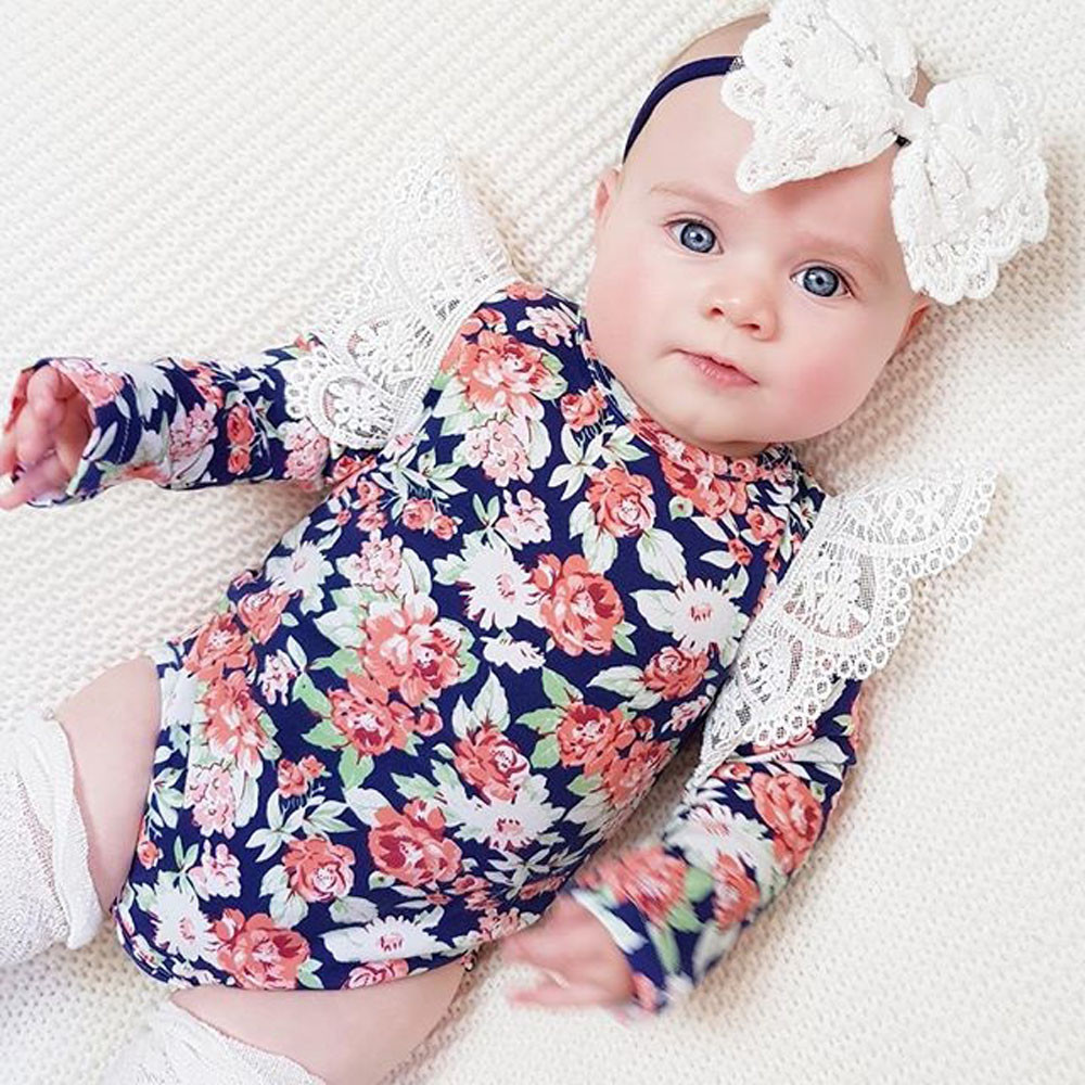 New Born Baby Girl   Romper   Clothes 2018 Infant Baby   Romper   Girls Floral Headband Ruffle Jumpsuit Outfits Clothes Roupa Menina #0