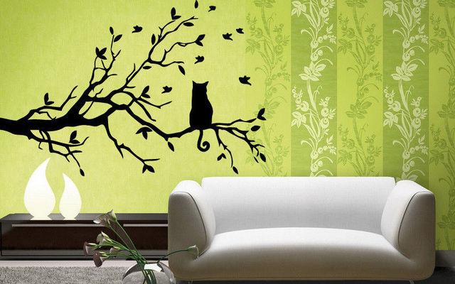 Cat And Tree Floral Pet Dream Positive Mural Wall Art Decor Vinyl ...