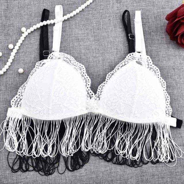 e0472ed3d5b6d 2017 Fashion Women Bras Lace Long Line Bralette Sheer Mesh Wireless Cups  Bra Triangle Without Lining Bralet Crop Top Underwear
