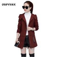 2019 spring Female windbreaker jackets medium long thicken plus velvet coat womens plus size cotton autumn winter women jacket